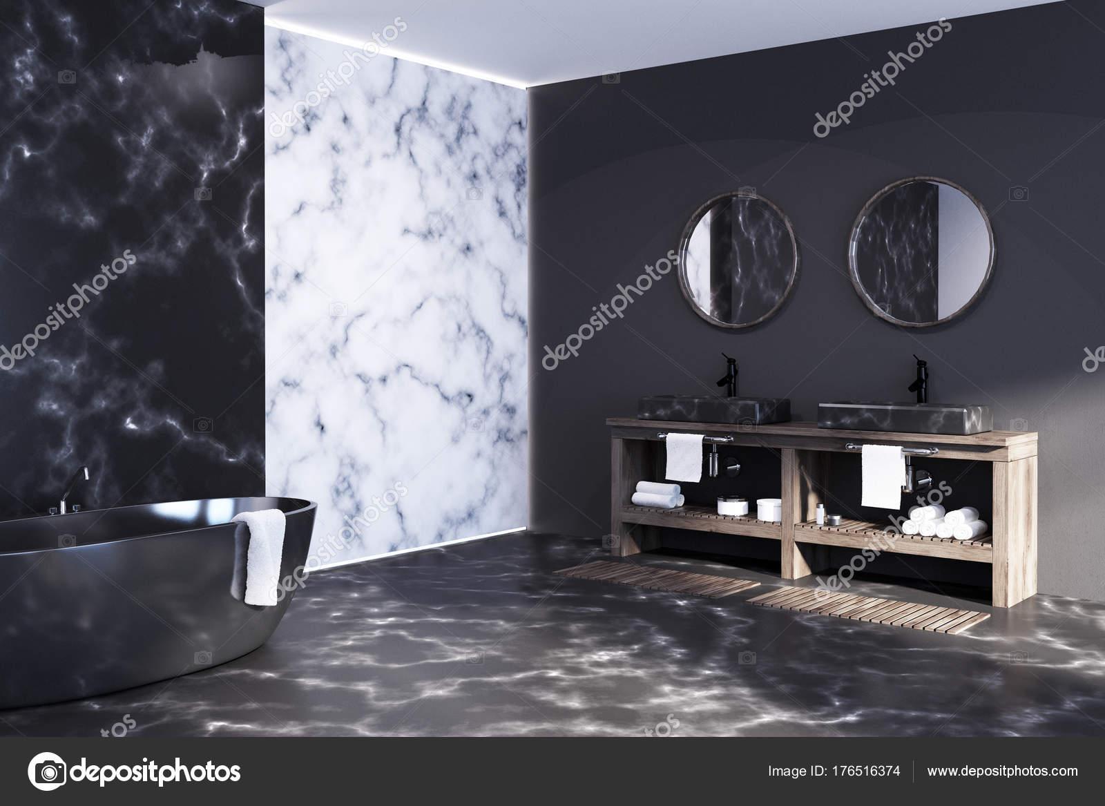 Bagni In Marmo Nero : Bagno in marmo bianco e nero u foto stock denisismagilov