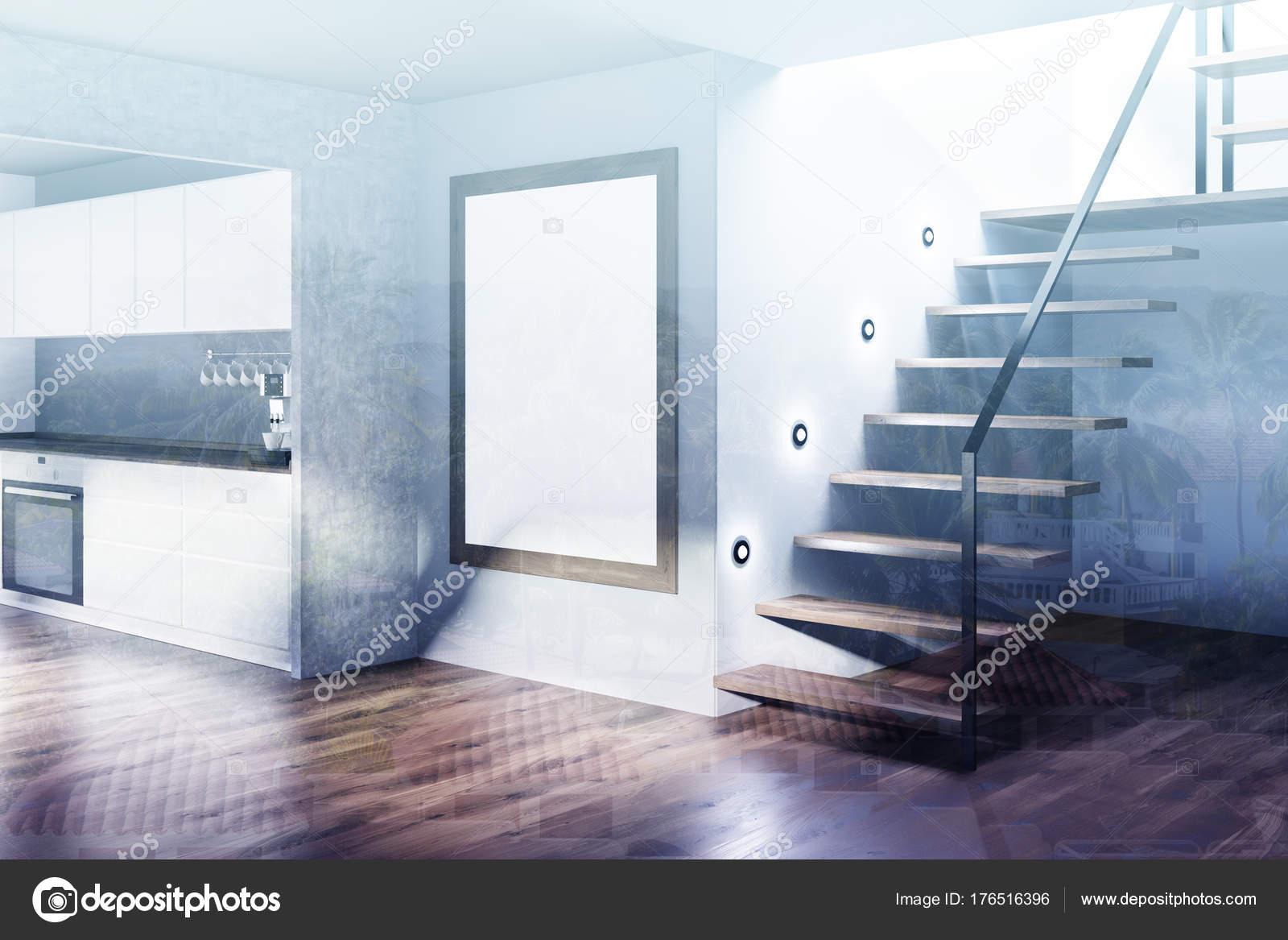 Angolo cucina bianca e grigia, poster tonica — Foto Stock ...