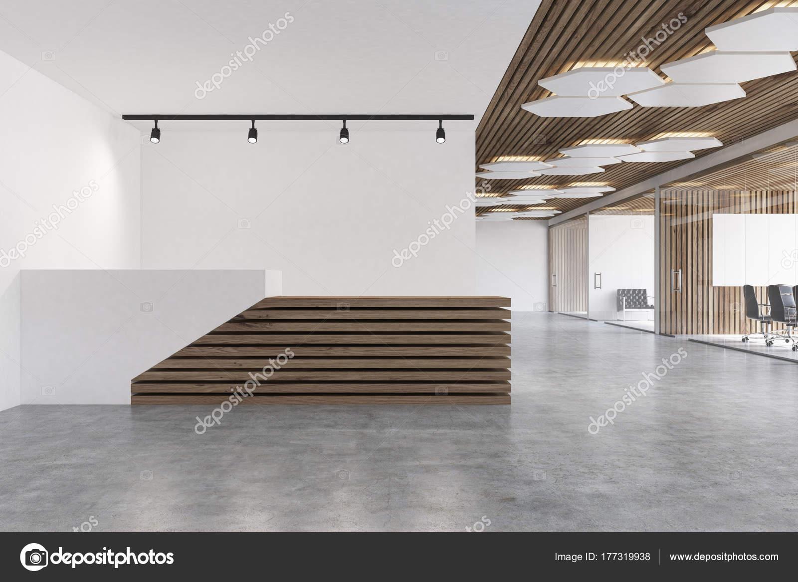 Ufficio Bianco E Legno : Banco reception in legno e bianco u foto stock denisismagilov