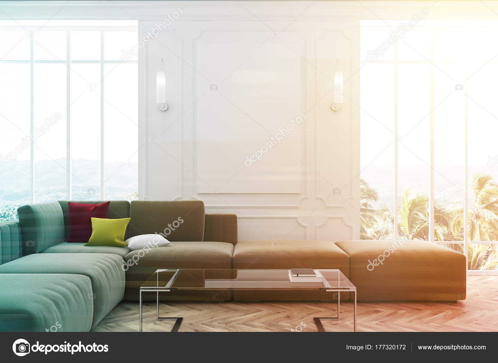 Superb White Living Room Blue Sofa And Poster Toned Stock Photo Evergreenethics Interior Chair Design Evergreenethicsorg