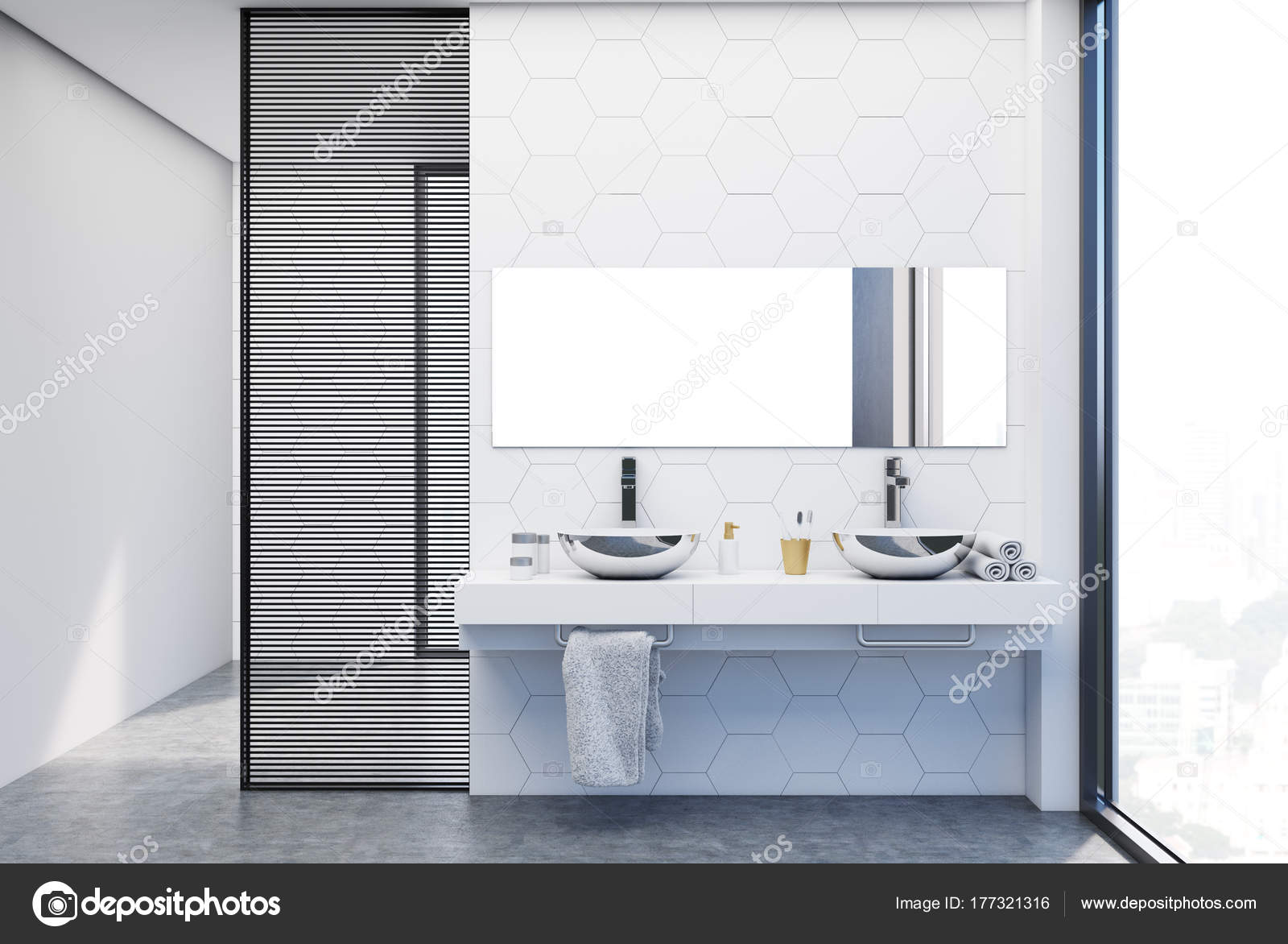Hexagon Tile Bathroom Double Sink Close Up Stock Photo - How long does it take to tile a bathroom