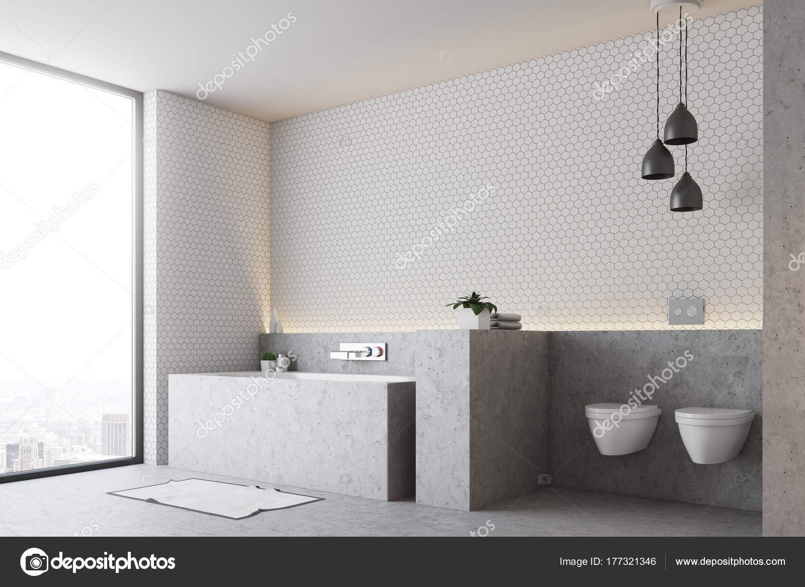 Weiße Badezimmer, graue Wanne und WC — Stockfoto © denisismagilov ...