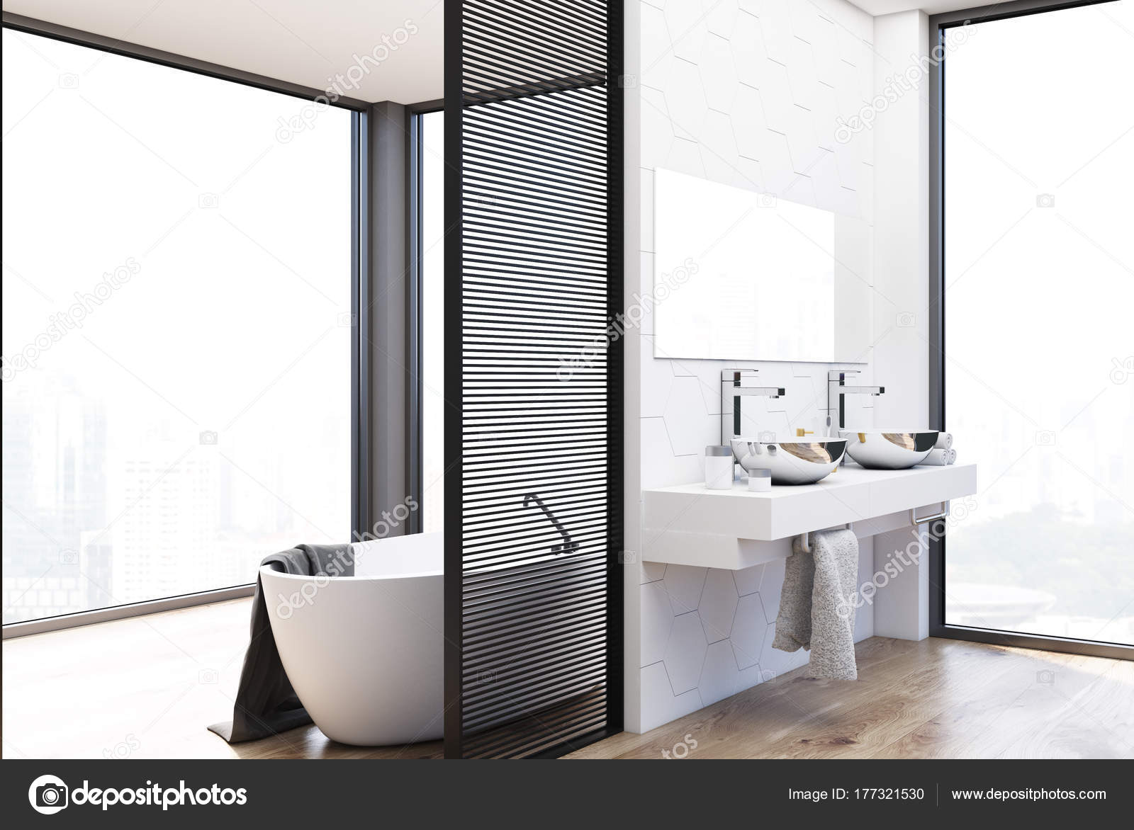 Hexagon Tegels Badkamer : Hexagon tegels badkamer dubbele wastafel en bad u stockfoto