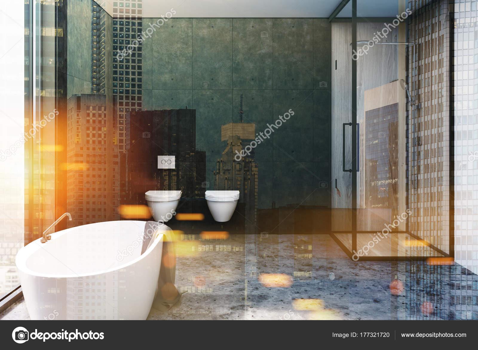 Dunkel Grau Badezimmer Interieur Toiletten Getonten Stockfoto