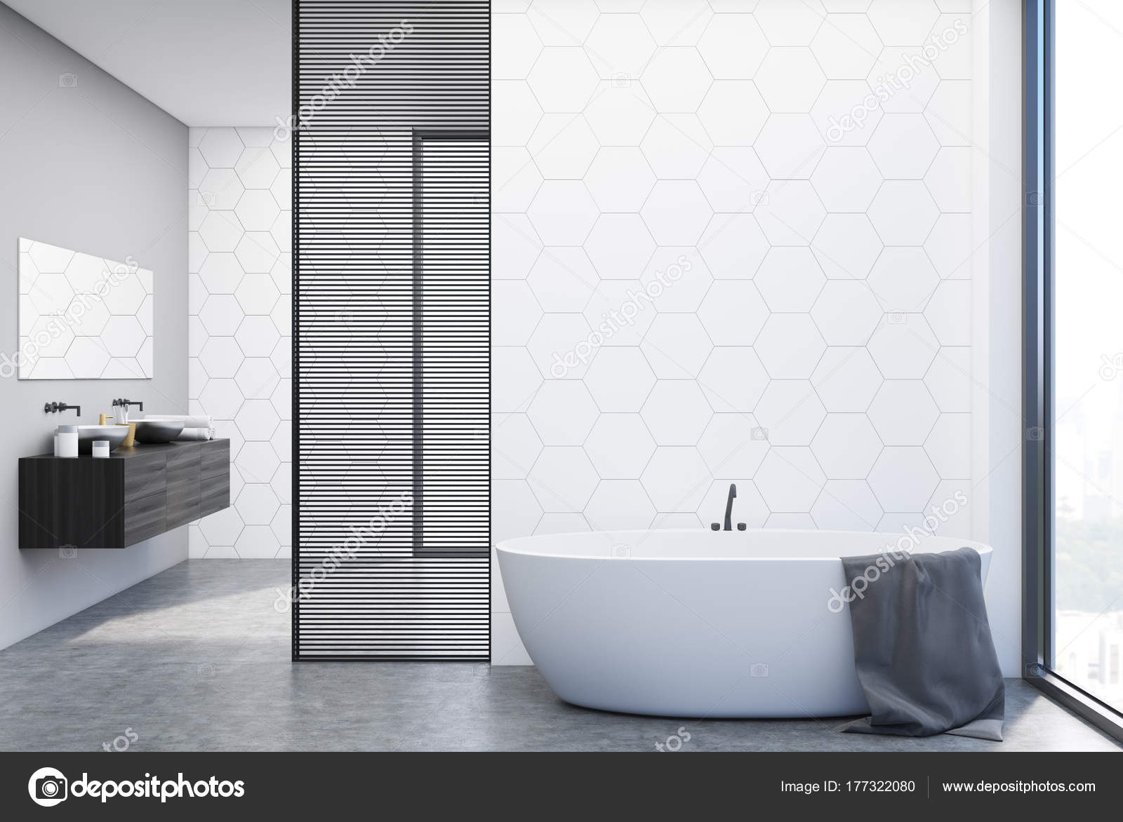 Witte tegels badkamer, badkuip en wastafels — Stockfoto ...