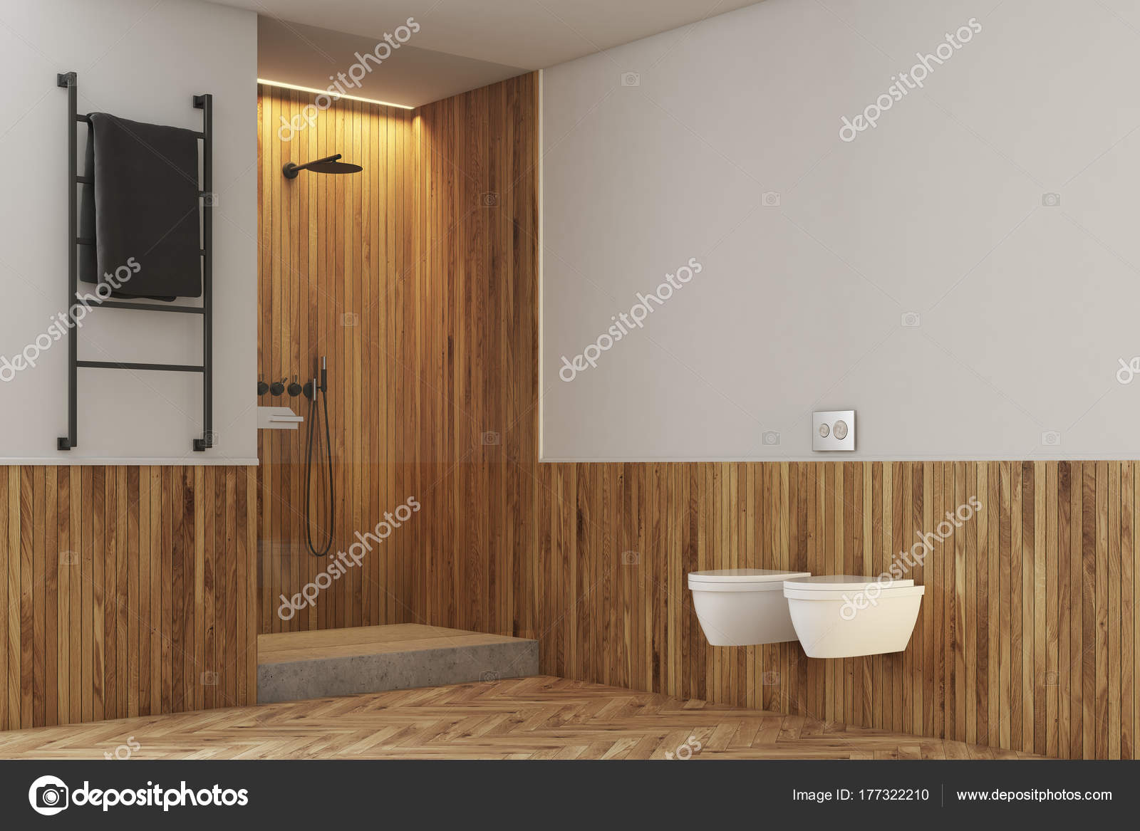 weiß und holz bad, wc und dusche — stockfoto © denisismagilov #177322210