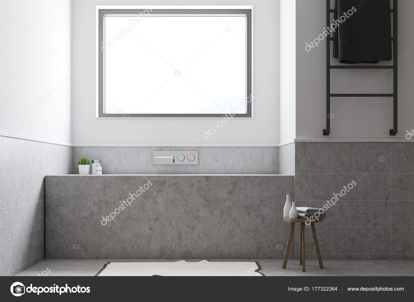 Weiße Badezimmer, graue Wanne Nahaufnahme — Stockfoto ...