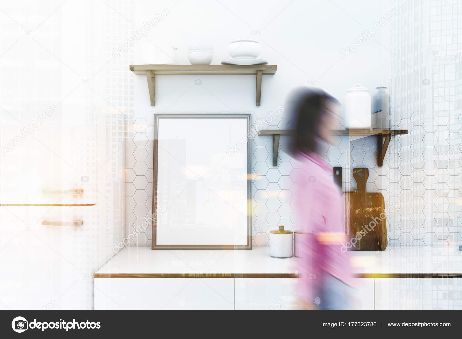 Weiße Küchenarbeitsplatte, Plakat Unschärfe — Stockfoto ...