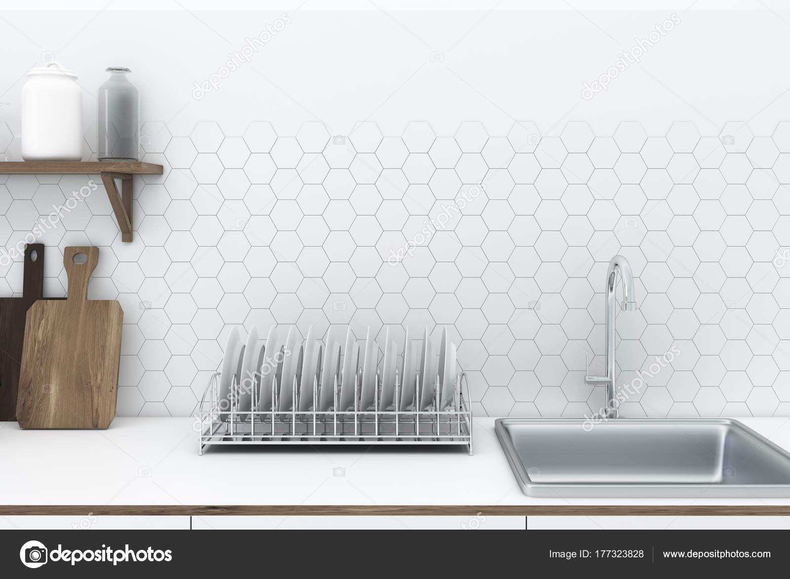 Weiße Sechseck Fliese Interieur, Küchenarbeitsplatte — Stockfoto ...