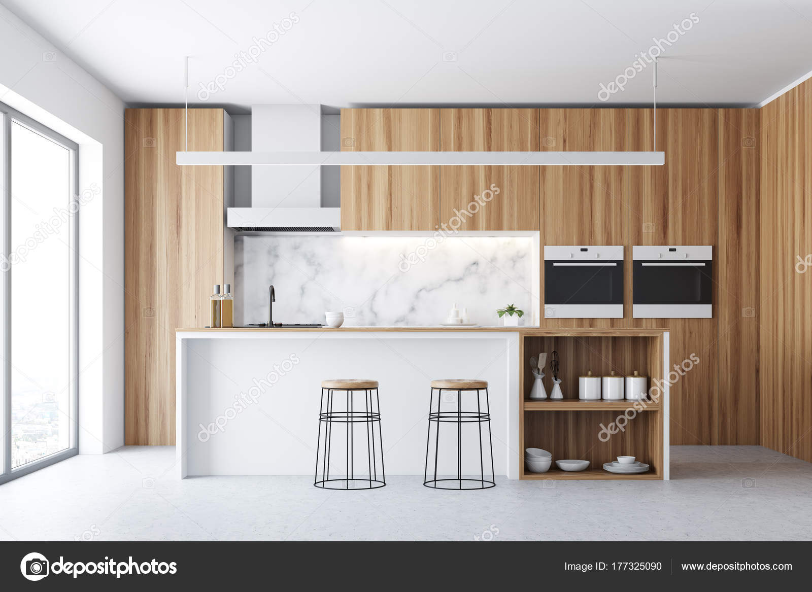 Dunkles Holz Küche, Bar und Fenster — Stockfoto © denisismagilov ...