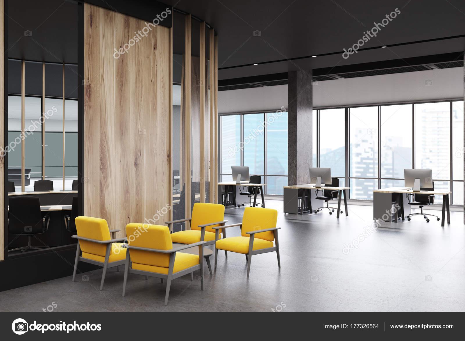 Bureau loft gris et salle d attente jaune u photographie