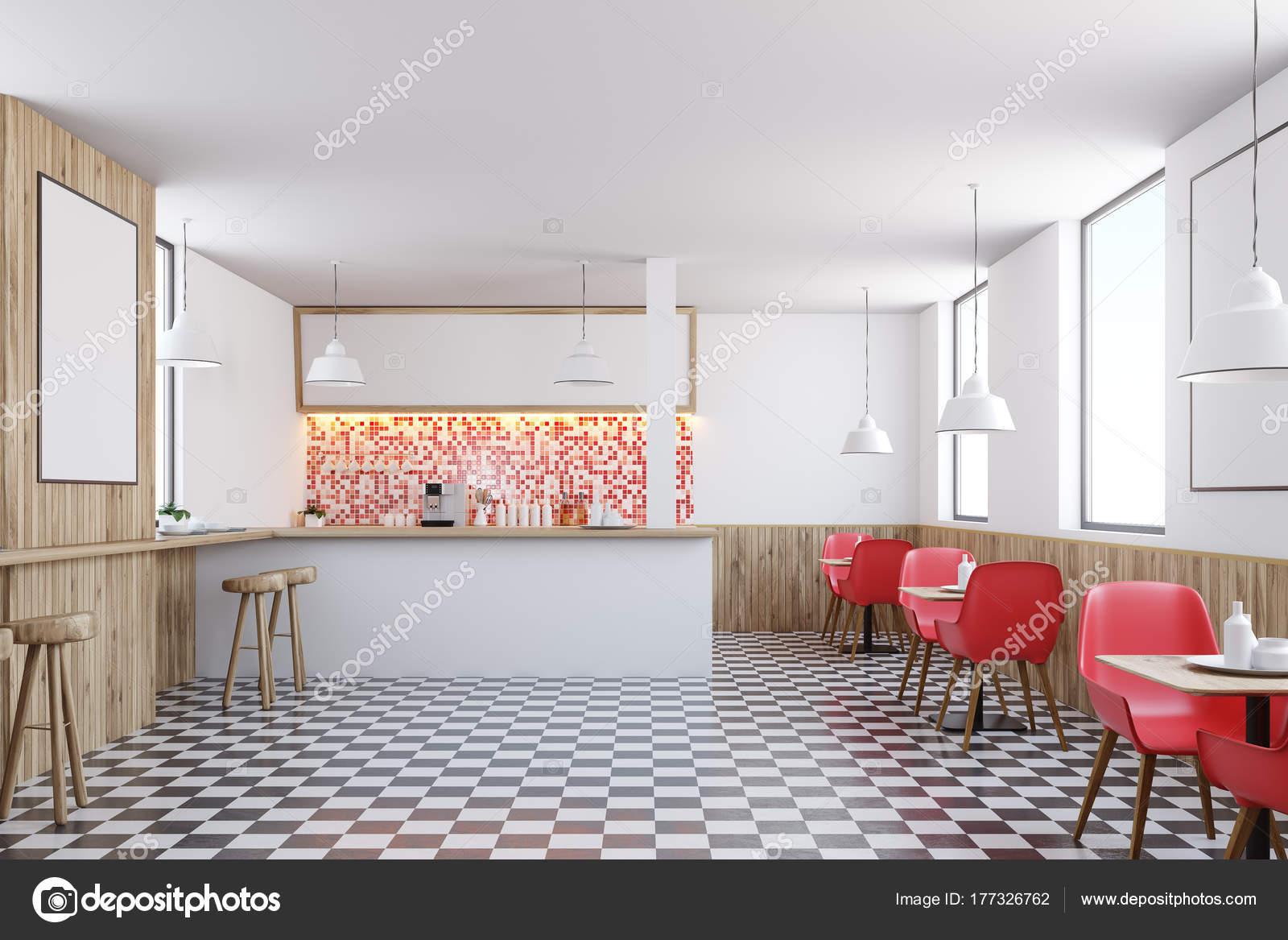 Wnętrze Baru Czerwone Płytki Zdjęcie Stockowe