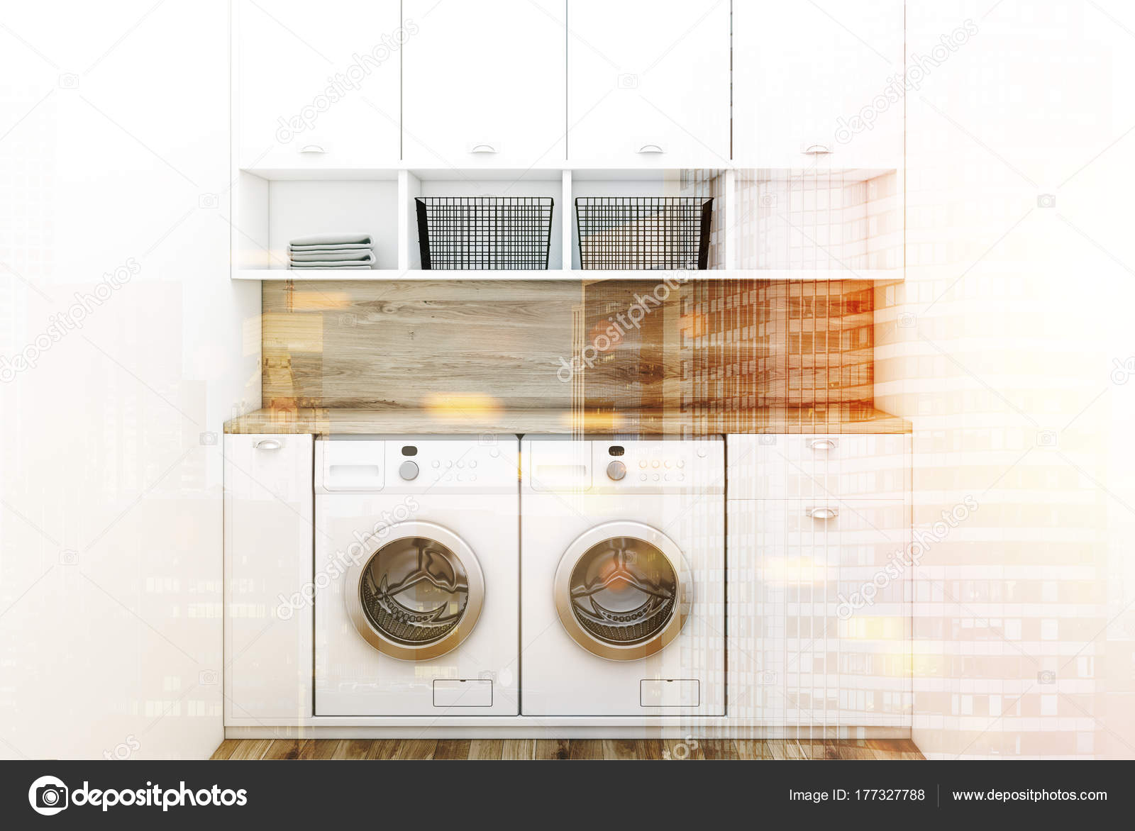 Minimalistische wasruimte interieur houten toned u stockfoto