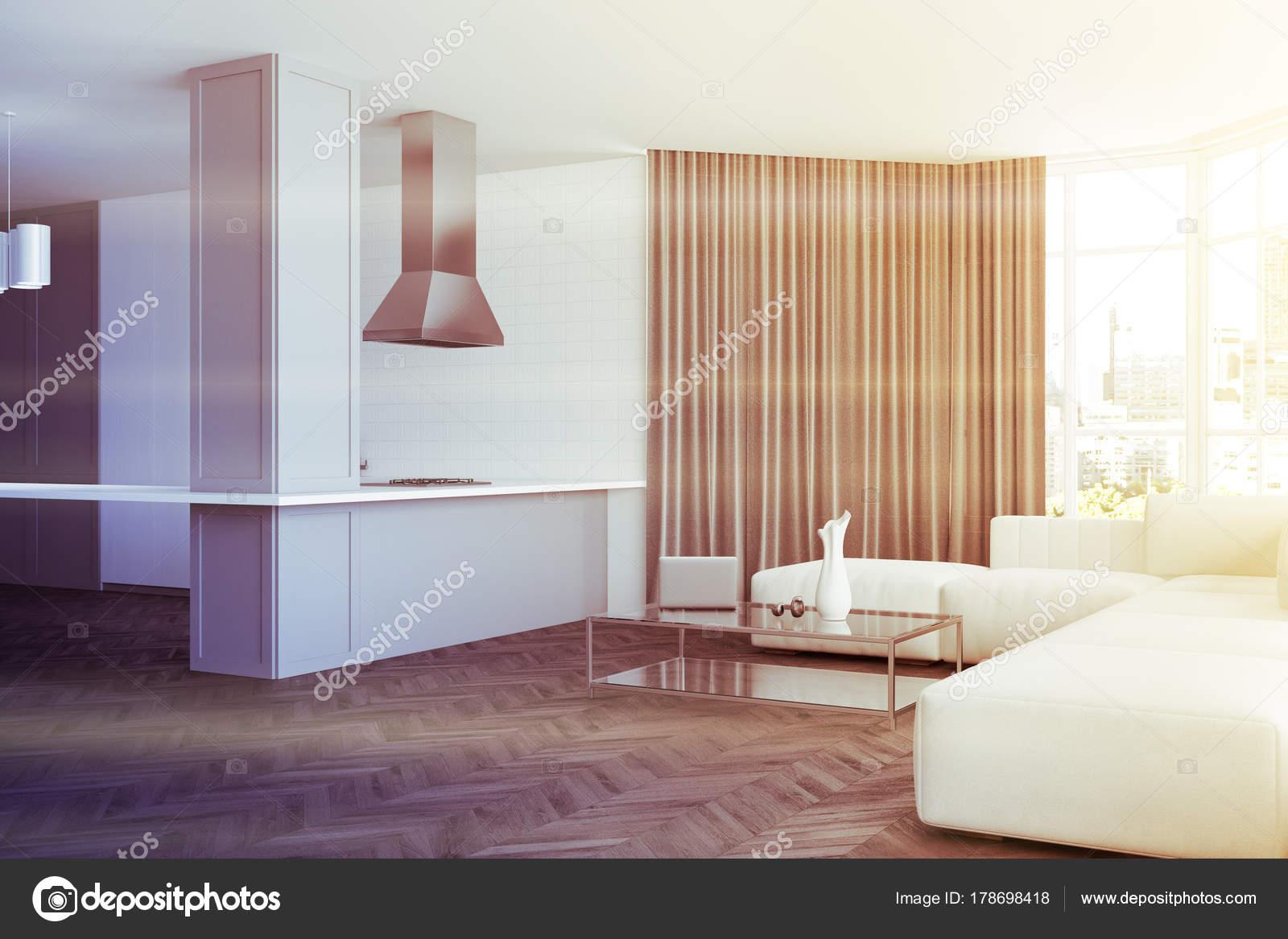 Bianco di soggiorno e angolo cottura tonica — Foto Stock ...