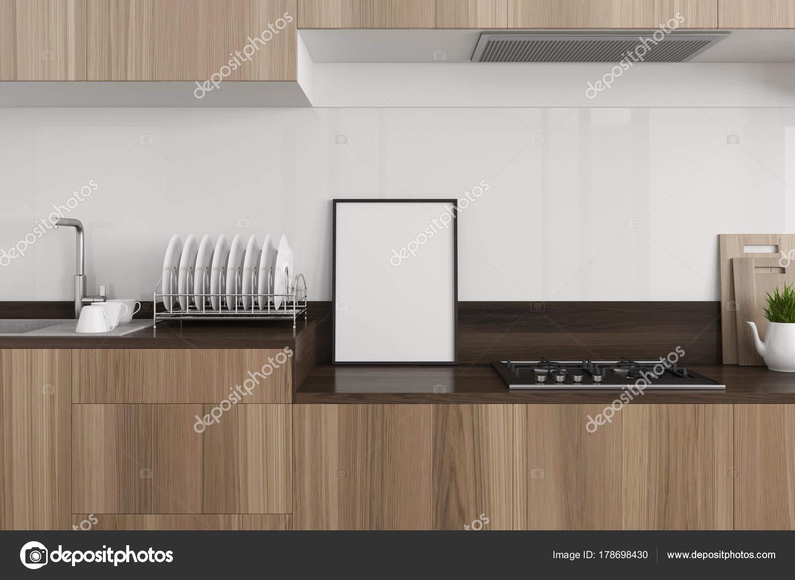 Weiße Küche, dunklen Holz Arbeitsplatte, poster — Stockfoto ...