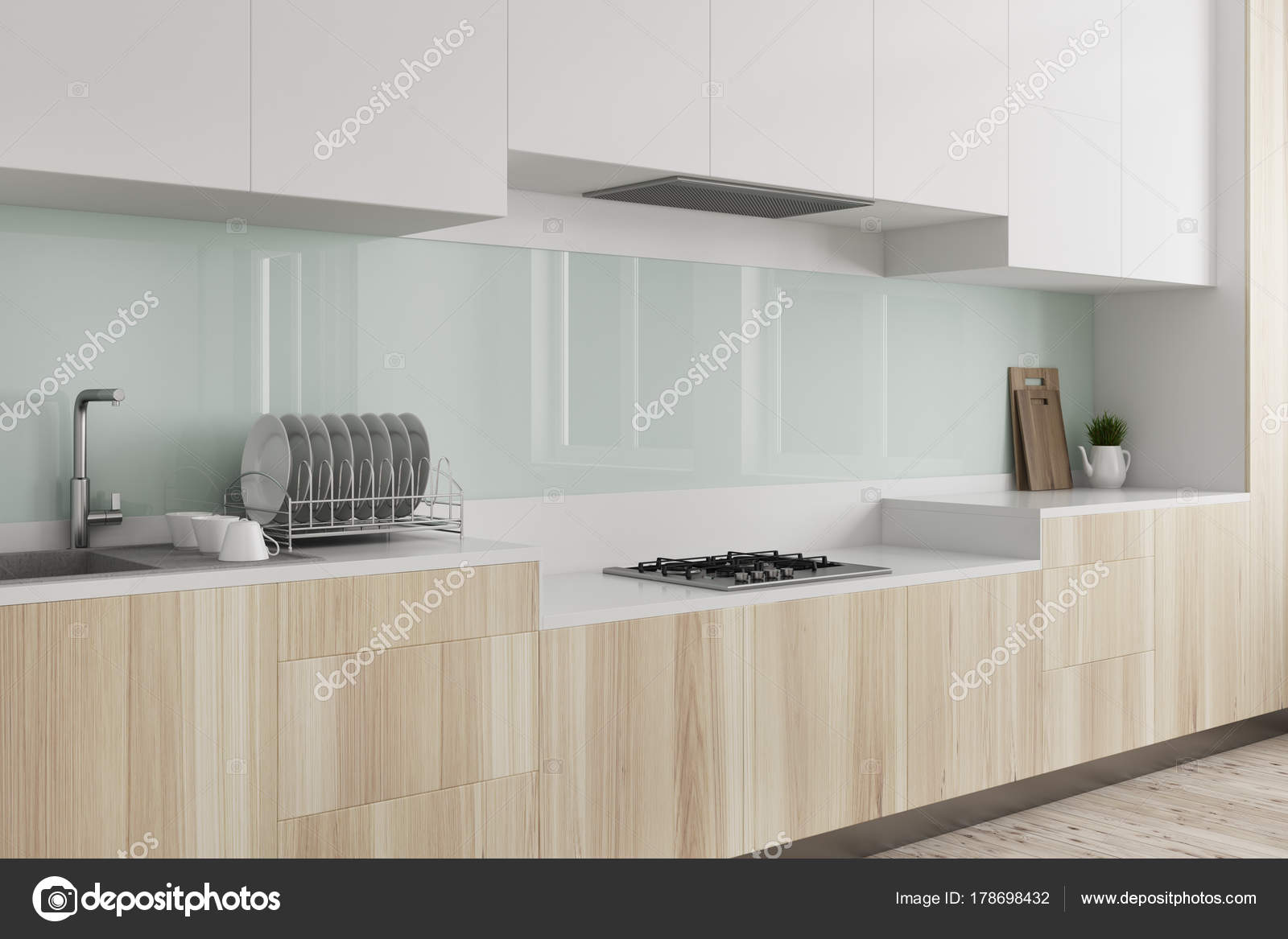 grüne küche, arbeitsplatte aus holz seite — stockfoto
