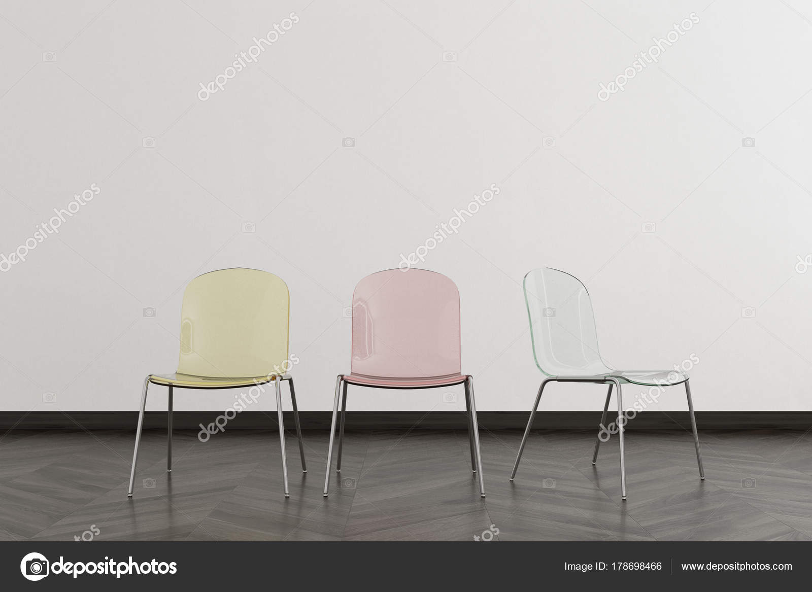 Transparent Chairs In An Empty Room Stock Photo