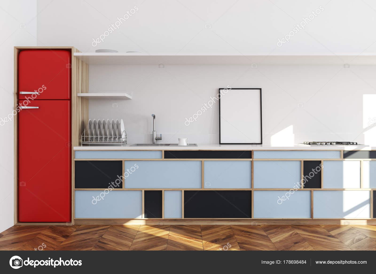 Weiße Küche, blaue Arbeitsplatte, poster — Stockfoto ...