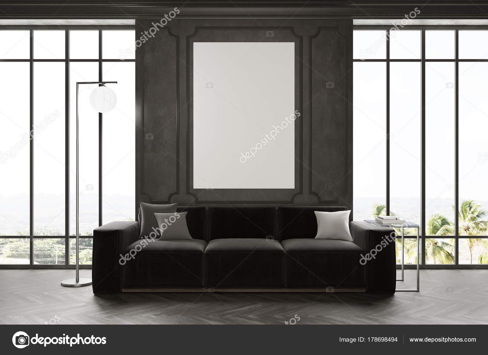 Zwarte woonkamer, poster en Bank — Stockfoto © denisismagilov #178698494