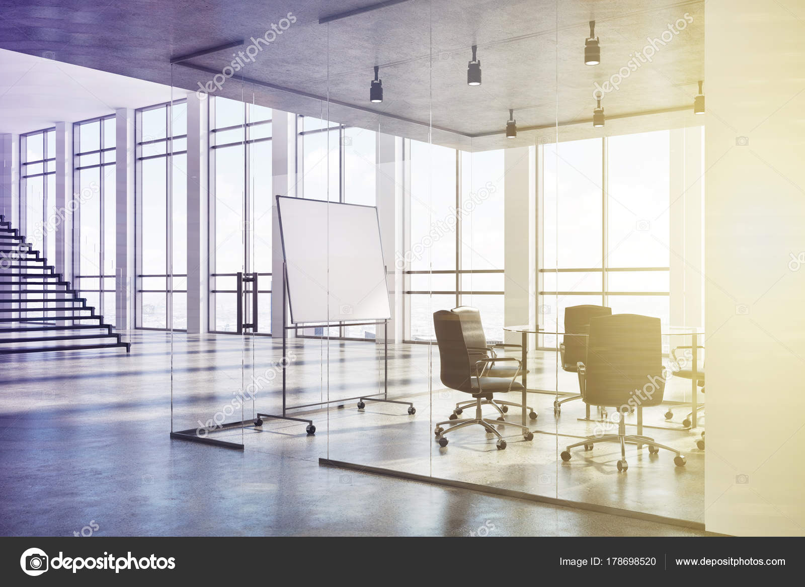 White And Glass Conference Room Corner Toned Stock Photo - Corner conference table