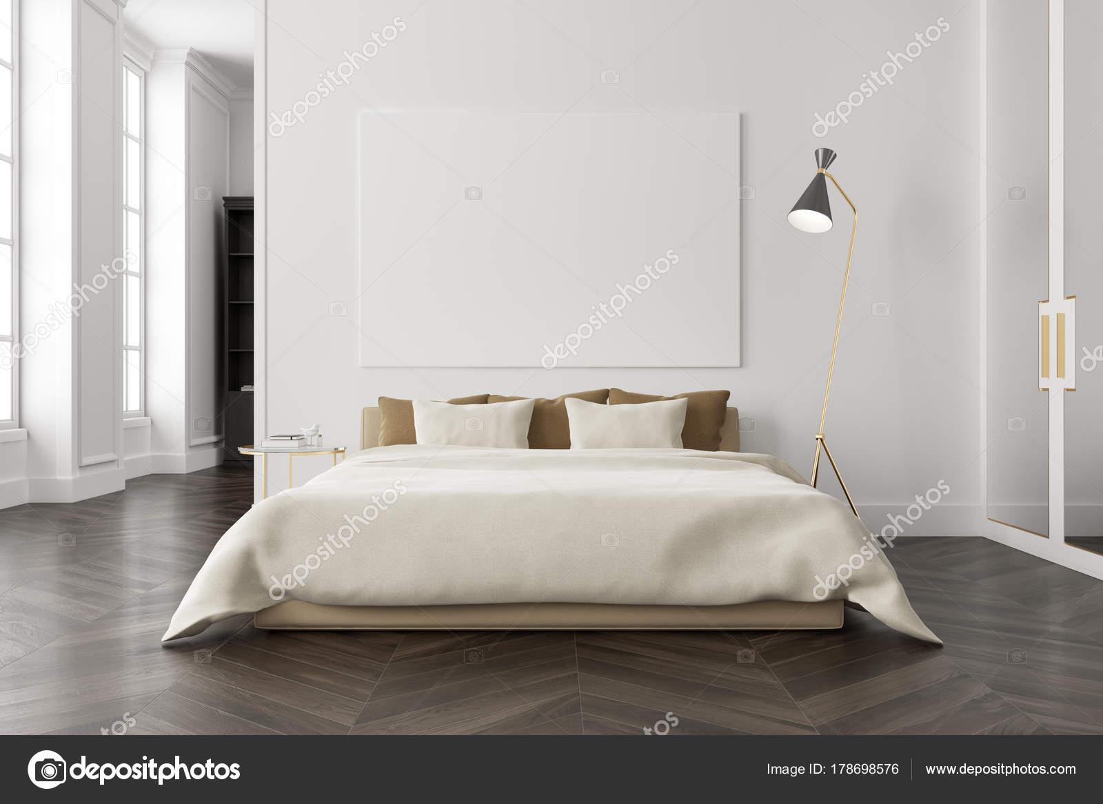 Weiße Schlafzimmer interior, poster — Stockfoto © denisismagilov ...