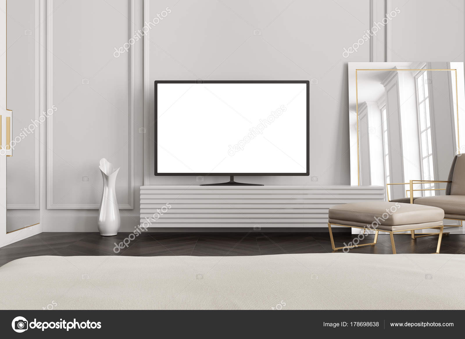 White screen TV set in a gray living room — Stock Photo ...