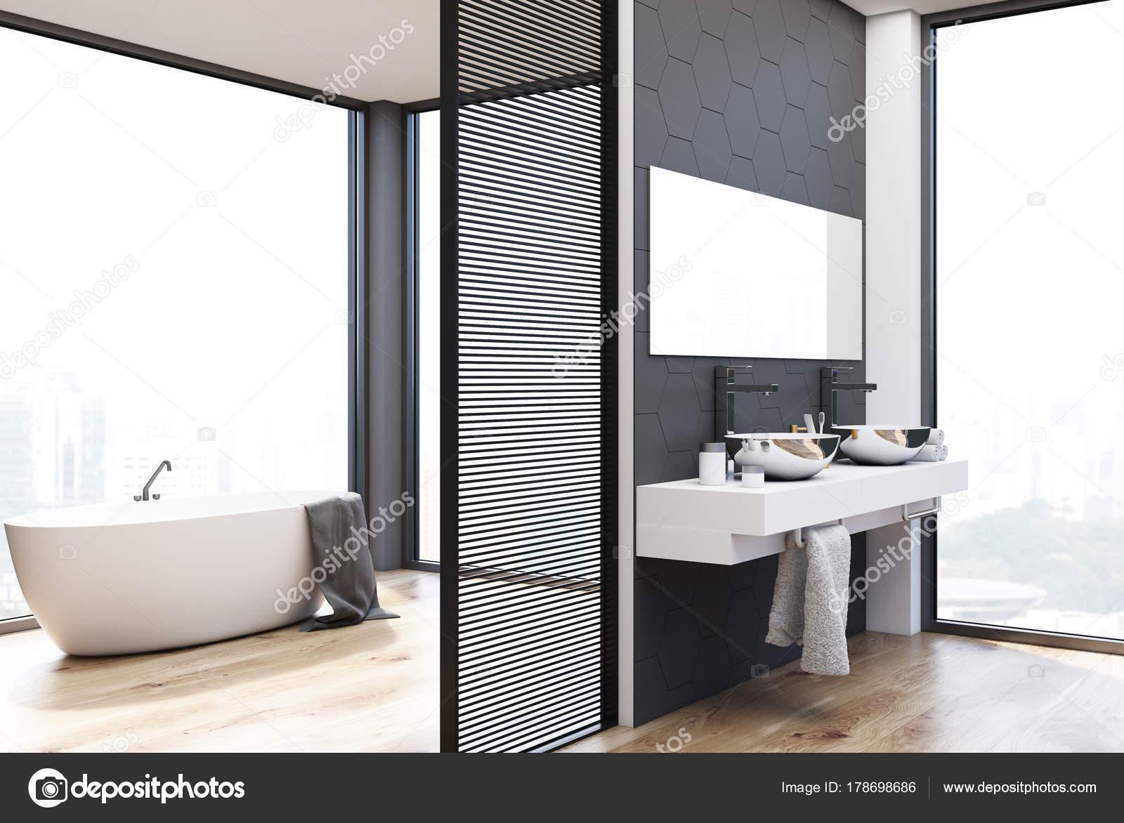 Hexagon Tegels Badkamer : Grijze hexagon tegels badkamer dubbele wastafel en bad