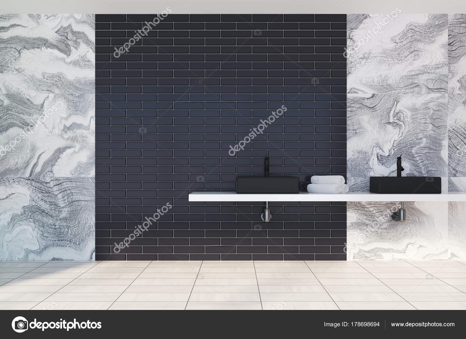 Likeable Badezimmer Schwarz Reference Of Grauer Marmor Interieur Mit Schwarzen Ziegeln Wandschmuck,
