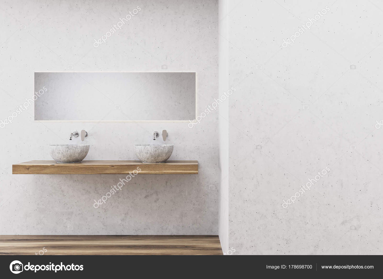 Witte badkamer, dubbele wastafel — Stockfoto © denisismagilov #178698700