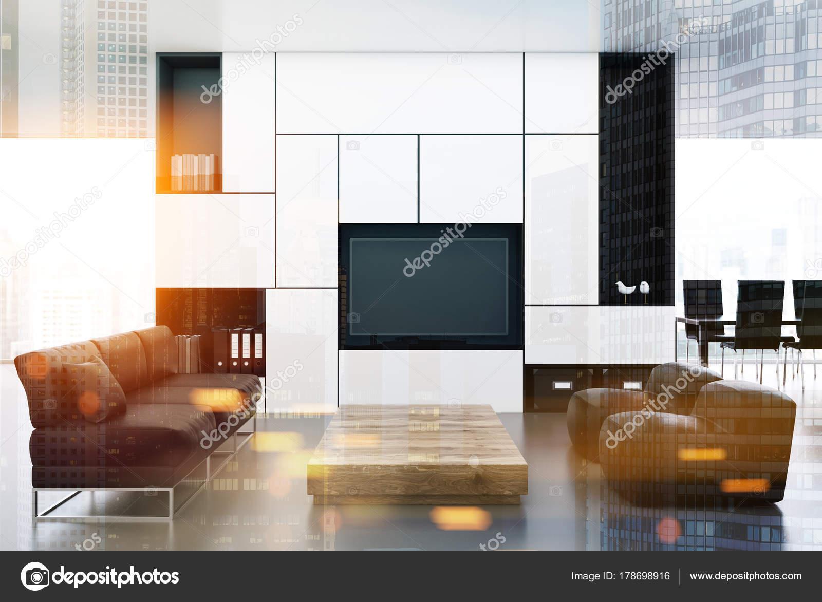 Witte en zwarte woonkamer, Tv dubbele — Stockfoto © denisismagilov ...