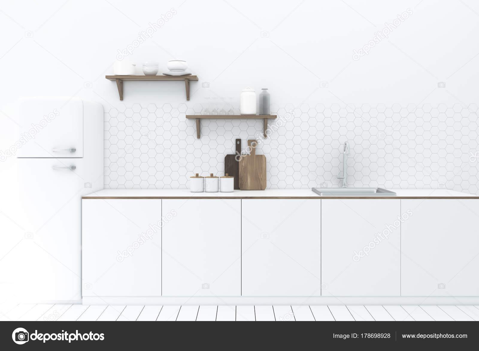 Esagono bianco piastrelle cucina interni u foto stock