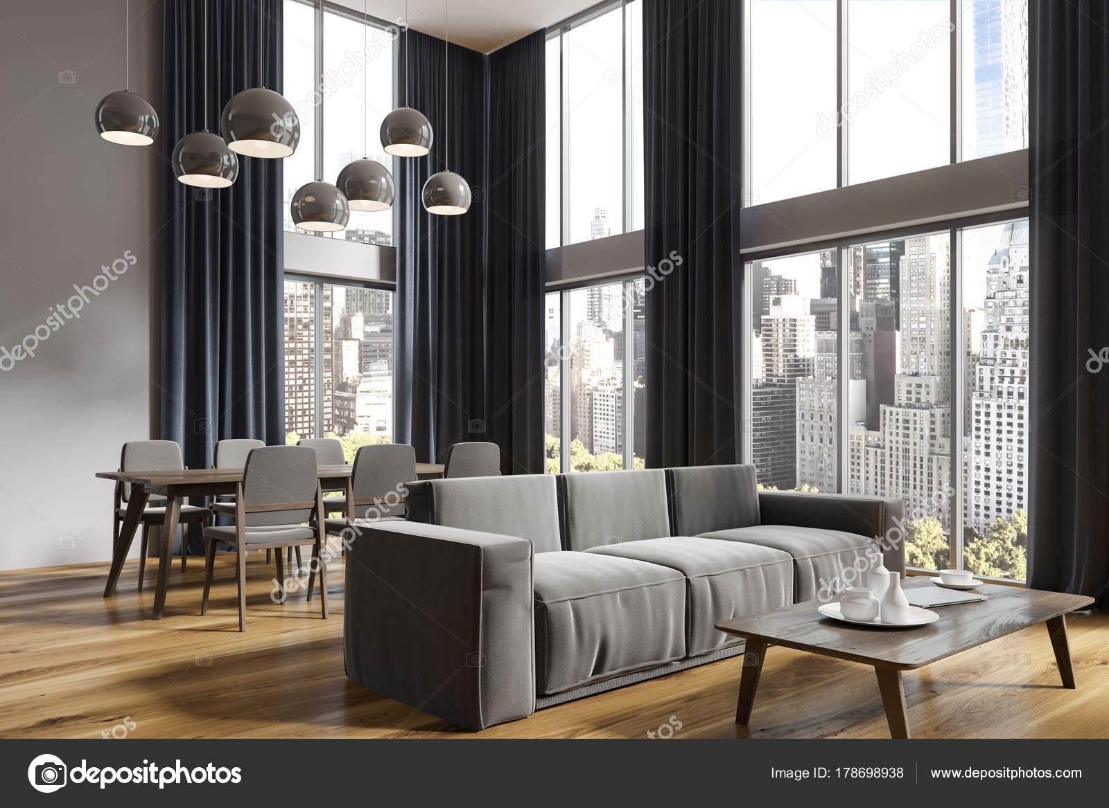 Panoramisch grijs woonkamer en eetkamer hoek — Stockfoto ...
