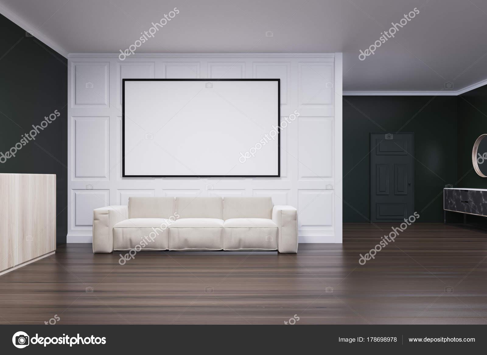 Schwarz Und Weiß Wohnzimmer, Poster Und Sofa U2014 Stockfoto