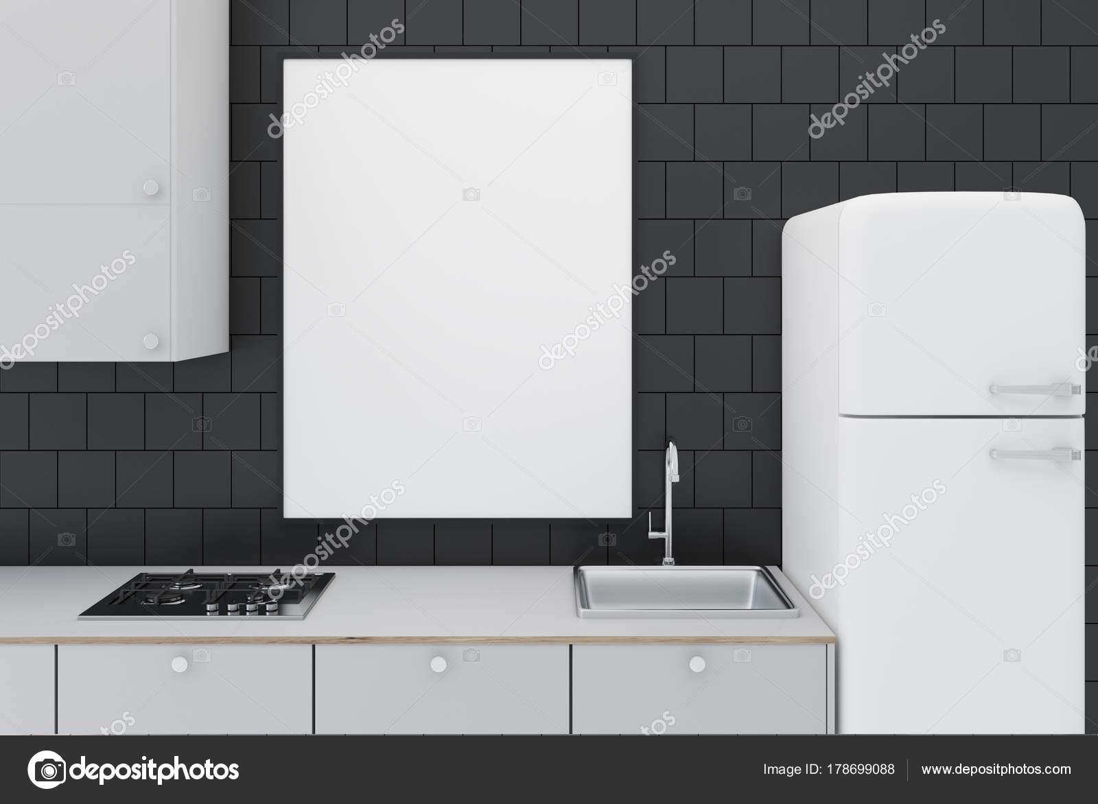 Nero piastrelle cucina, poster primi piani — Foto Stock ...