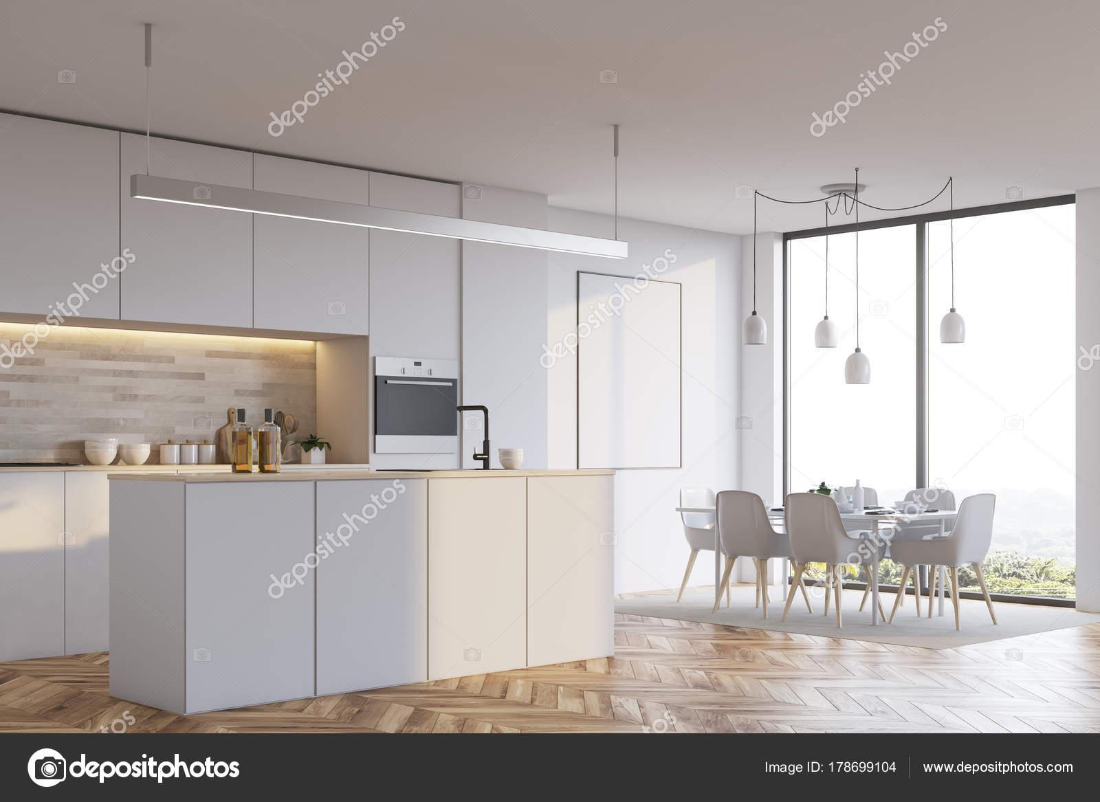 3d Fußboden Küche ~ Weiße küche mit bar plakat seite u2014 stockfoto © denisismagilov