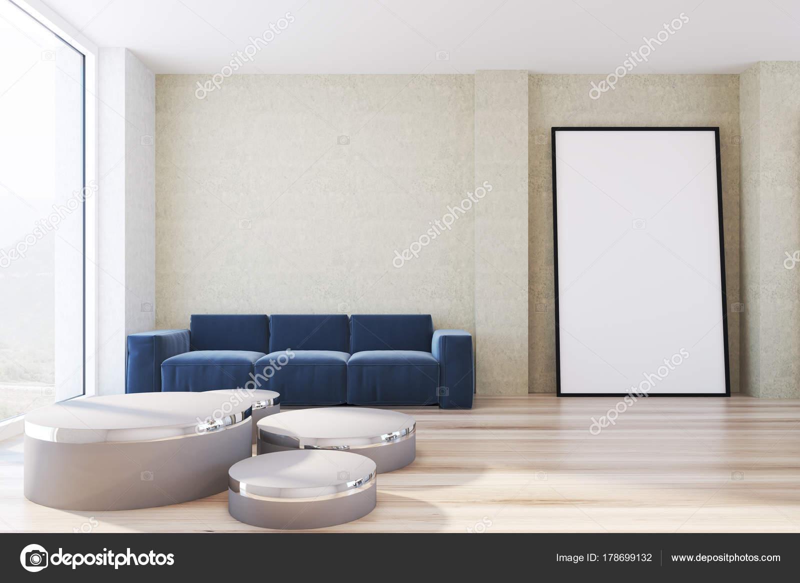 Gelbe Wohnzimmer Blauen Sofa Und Poster Stockfoto