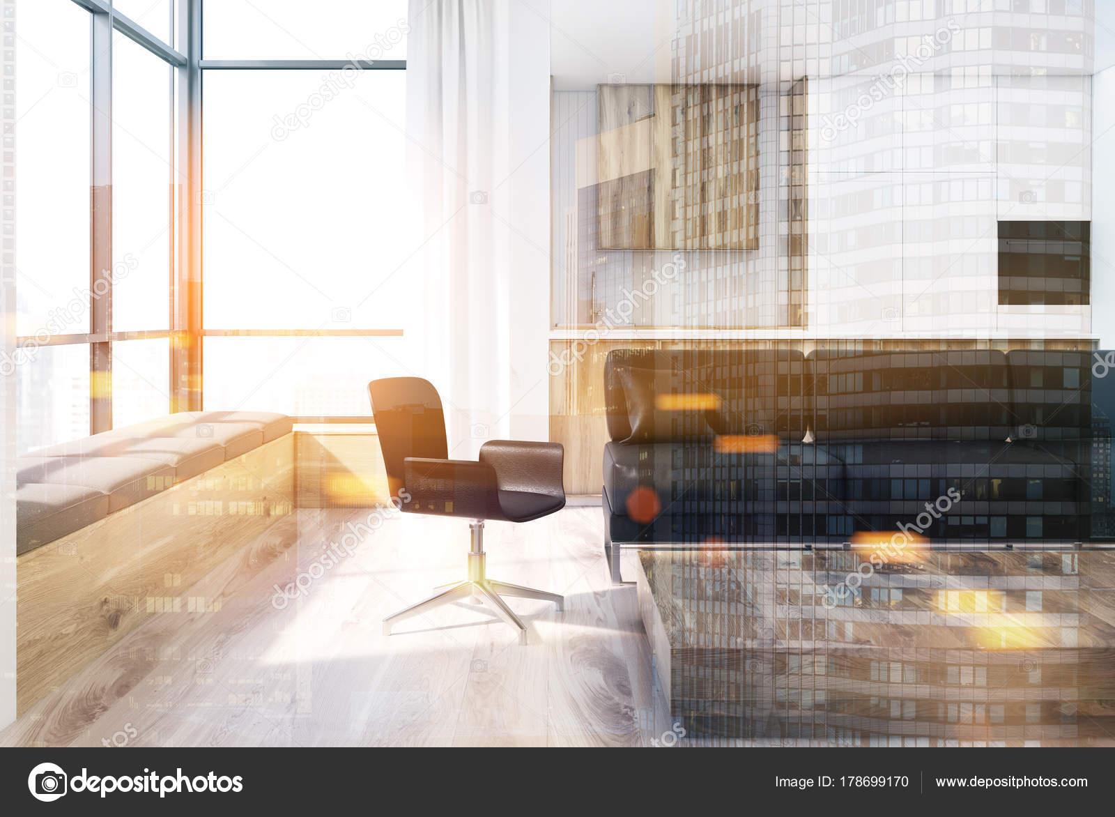 Wit woonkamer, vierkante tafel, stoel toned — Stockfoto ...