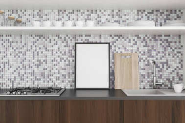 Tiled and dark wooden kitchen countertop, poster