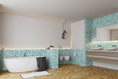 Green tile bathroom and toilet, corner
