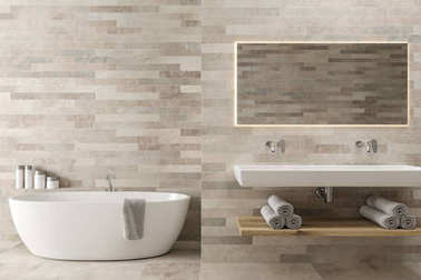 White wooden bathroom, double sink, tub
