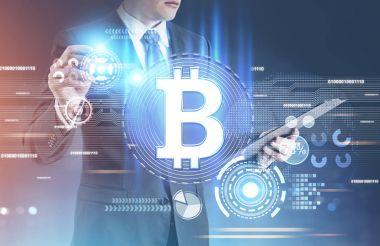 Shining bitcoin sign, HUD interface, man