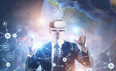 Businessman in VR glasses, global network