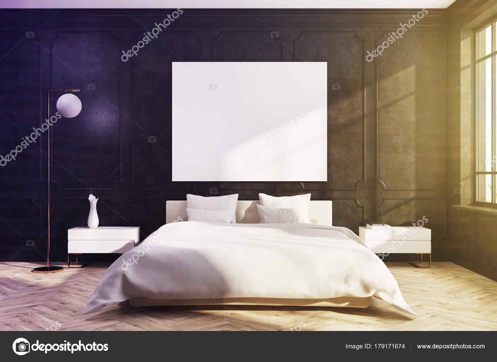 Letto camera da letto nera, bianca, poster tonica — Foto Stock ...
