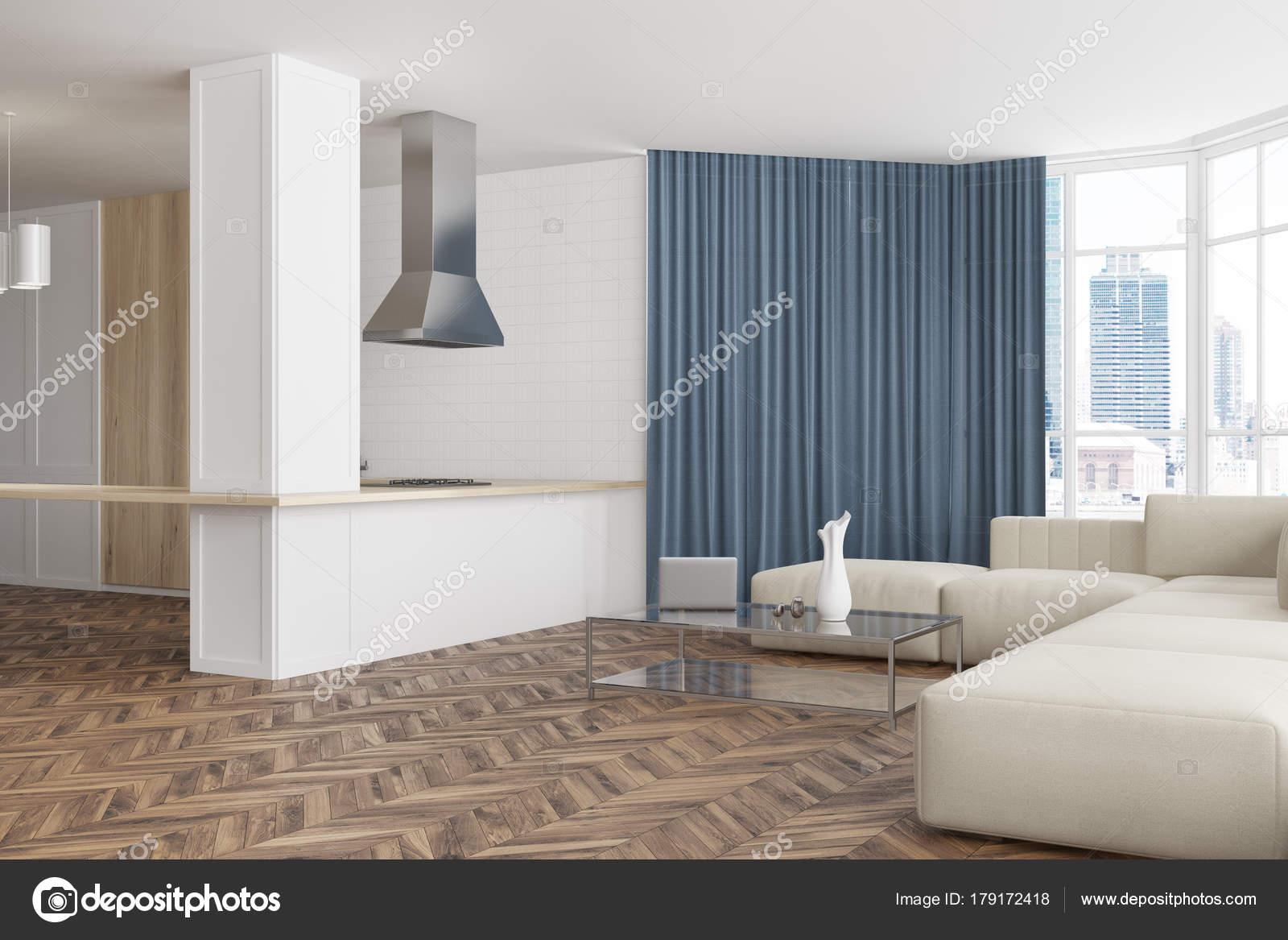Etonnant White Living Room Corner, Bar And Sofa U2014 Stock Photo