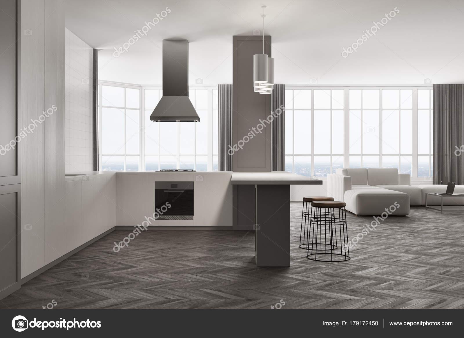 Witte en grijze woonkamer en keuken — Stockfoto © denisismagilov ...