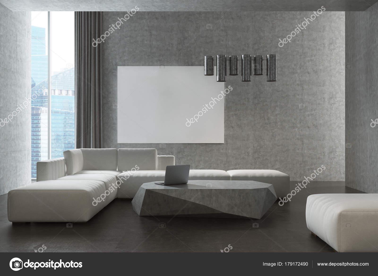 Grijze woonkamer, witte sofa, poster — Stockfoto © denisismagilov ...