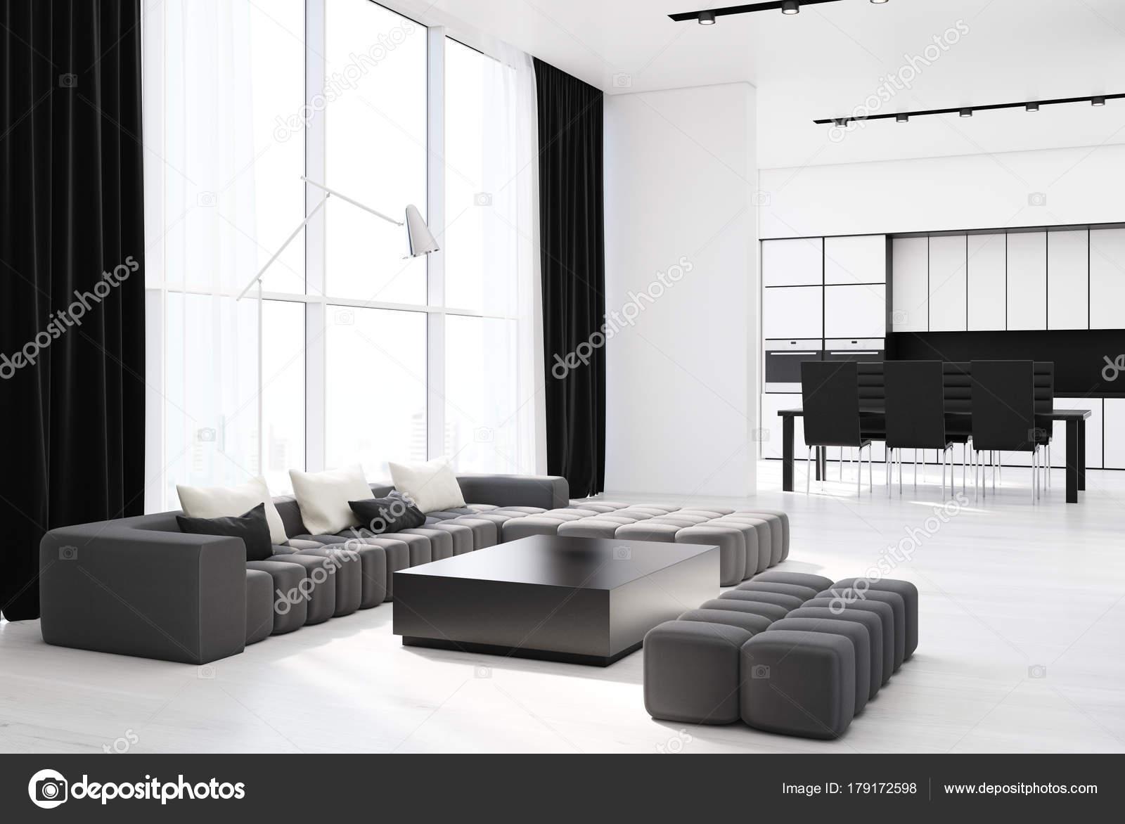Angolo bianco soggiorno con un divano grigio — Foto Stock ...
