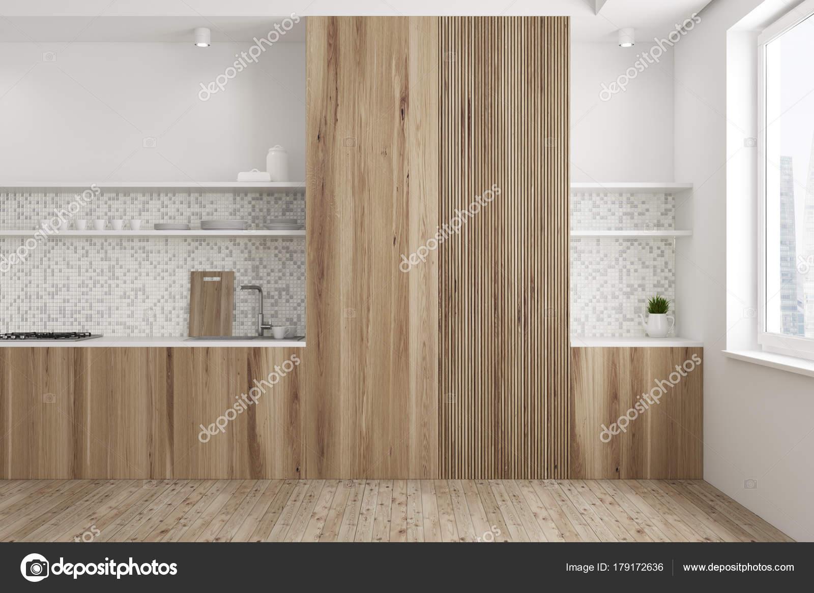 Interni in legno e piastrelle cucina u foto stock denisismagilov