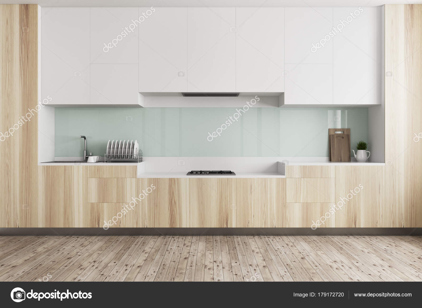 Grüne Küche, Arbeitsplatte aus Holz — Stockfoto © denisismagilov ...