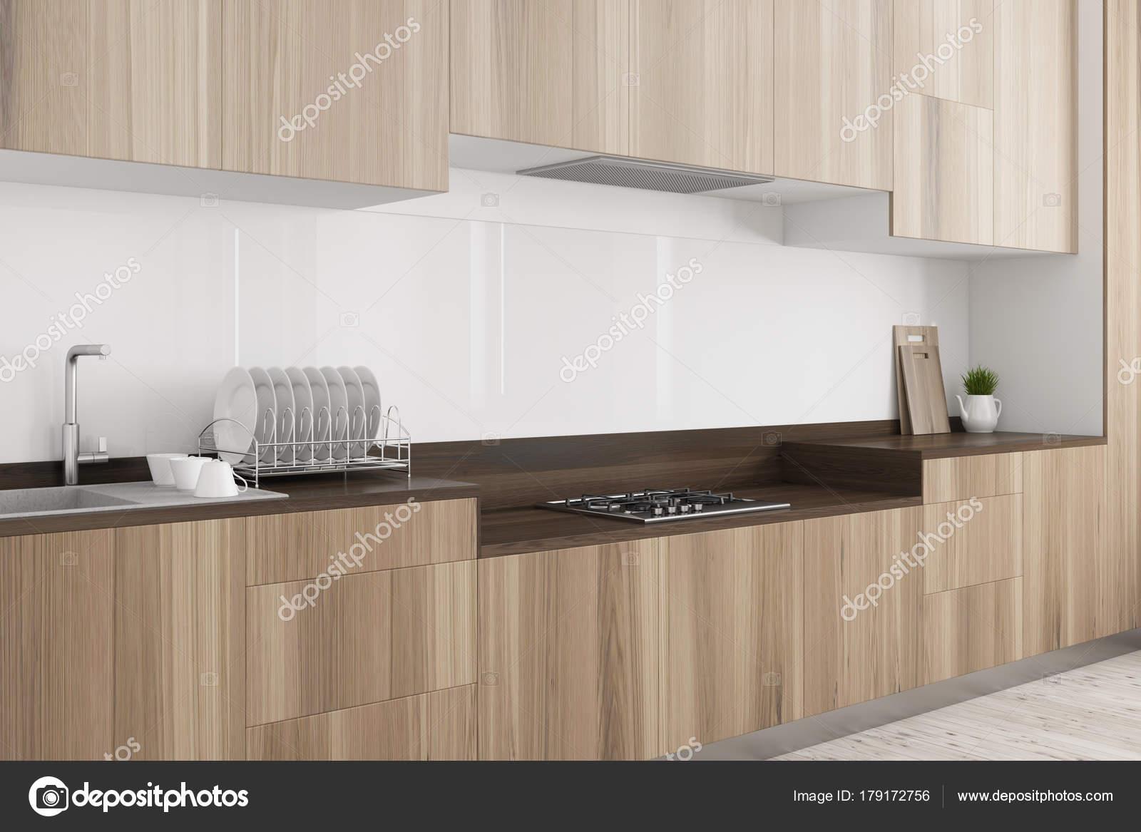 Weiße Küche, dunklen Holz Arbeitsplatte Seite — Stockfoto ...